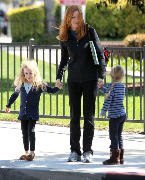 Marcia Cross spotted picking up her twin daughters Eden and Savannah from school in Santa Monica, California on March 19, 2012