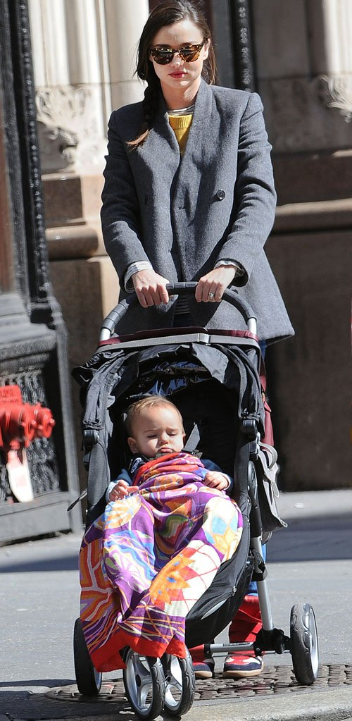Miranda Kerr having lunch at the ABC Kitchen in NYC with Flynn (March 12)