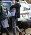 Orlando Bloom took his son Flynn Bloom and their dog to Runyon Canyon Park in Los Angeles, California on March 30, 2012.