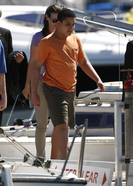 Robert De Niro, his wife Grace Hightower, their son Elliot De Niro and other family members spending the day out on yacht in Perth, Western Australia on March 26, 2012.