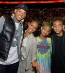 Will and Jada Pinkett Smith with Willow and Jaden at the Miami Heat vs. Philadelphia 76ers game at Wachovia Center (March 16)