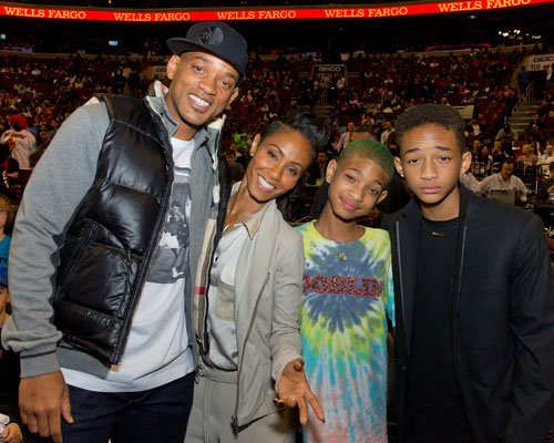Will Smith & Family Catch A BasketBall Game