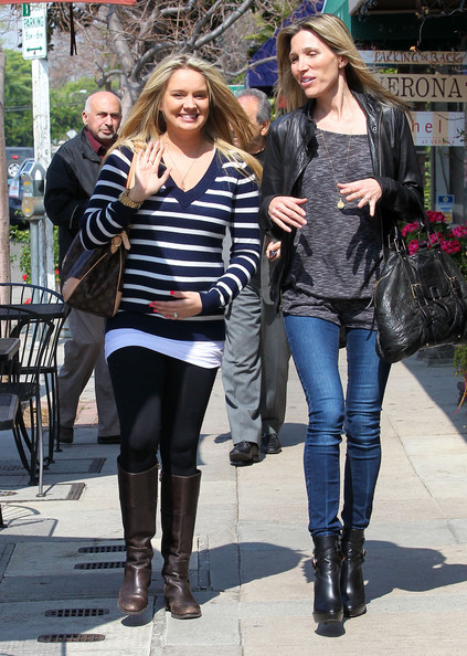 """""""Sonny With A Chance"""" actress Tiffany Thornton and celebrity designer Wendy Bellissimo out shopping for her babies room in Los Angeles, California on March 6, 2012. Tiffany is expecting her first child with husband Christopher Carney"""