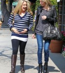 """Sonny With A Chance"" actress Tiffany Thornton and celebrity designer Wendy Bellissimo out shopping for her babies room in Los Angeles, California on March 6, 2012. Tiffany is expecting her first child with husband Christopher Carney"