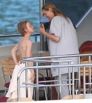 Uma Thurman enjoying a vacation with her kids Maya and Levon Hawke and her mother Nena von Schlebrugge on a yacht in St. Barts, France on March 24, 2012