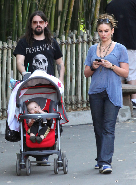 Drea de Matteo and fiance Shooter Jennings take their kids Alabama and Waylon to the Los Angeles Zoo in Los Angeles, California on April 7, 2012.
