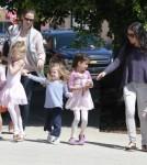 Violet and Seraphina Affleck hold hands after ballet 0429