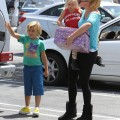 Kingston & Zuma Rossdale Running Errands With Their Nanny