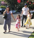 Soleil Moon Frye and husband Jason Goldberg taking their daughters Poet and Jagger to an Easter party in West Hollywood, California on April 7, 2012.