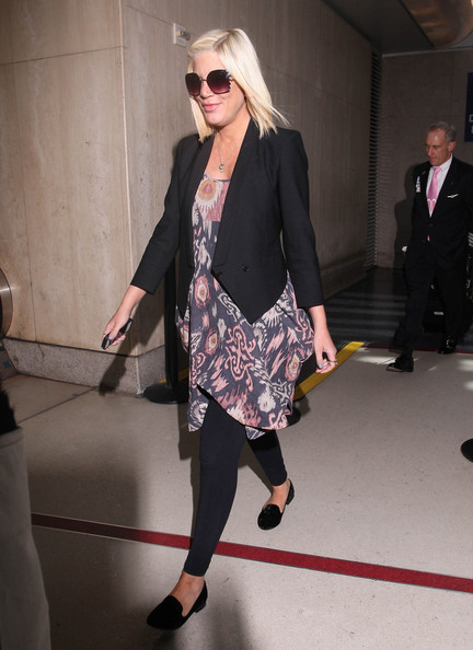 Newly pregnant actress Tori Spelling was seen arriving at LAX in Los Angeles, California on April 6, 2012.