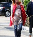 Alyson Hannigan made her way out of Andy Lecompte hair salon in Los Angeles, California on April 19, 2012.