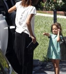 Halle Berry seen picking up her daughter Nahla from school in Los Angeles, California on April 20, 2012. Nahla was in a grumpy mood when she saw the paparazzi. Halle was sporting her new hair extensions