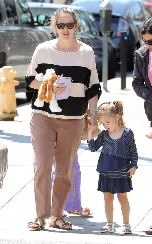 Jennifer Garner was out and about with her daughters Violet and Seraphina Affleck on April 9, 2012 in Santa Monica, California. The ladies meet up with a group of friend for a trip to the nail salon and a lunch date.