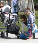 Jessica Alba takes her daughters Honor and Haven to a park in Beverly Hills for some fun.