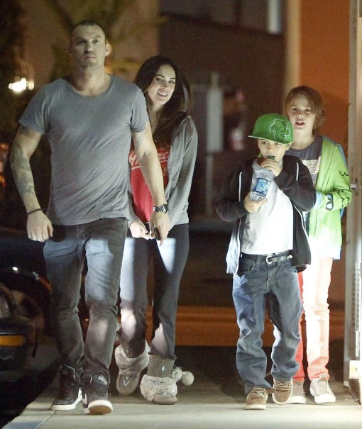 Megan Fox and Brian Austin Green take his son Kassius out to eat at Koo Koo Roo in Los Angeles, California on March 22, 2012