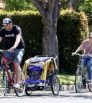 Naomi Watts and Liev Schreiber take their kids Alexander and Samuel on a bike ride to a local farmers market in Brentwood.