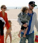 Nicole Richie and husband Joel Madden taking Harlow and Sparrow to the beach in Malibu April 9