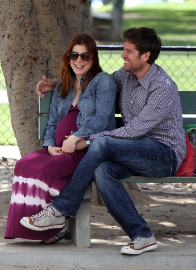 Pregnant Alyson Hannigan spends family time at the park 0504