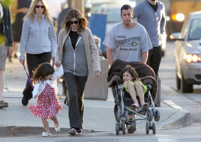 Adam Sandler Takes A Stroll With His Ladies