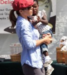 Jillian Michaels and Heidi Rhoades took their adopted daughter Lukensia and newborn son Andrew to the Farmer's Market, in Malibu, Ca on May 27, 2012.