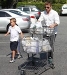 Ryan Phillippe and his son Deacon out grocery shopping at Bristol Farms in Los Angeles, California on May 9, 2012.