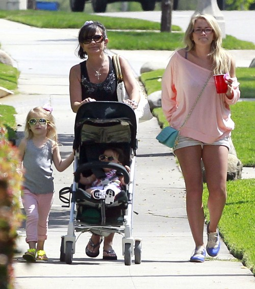 `Singer Jamie Lynn Spears, her daughter Maddie Aldridge and her mother Lynne Spears out shopping and getting some ice cream in West Hollywood, California on May 6, 2012.