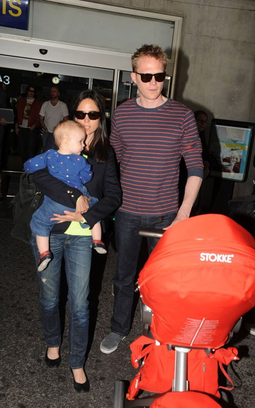 Jennifer Connelly & Paul Bettany arriving in Nice with daughter Agnes for the 2012 Cannes Film Festival - May 17