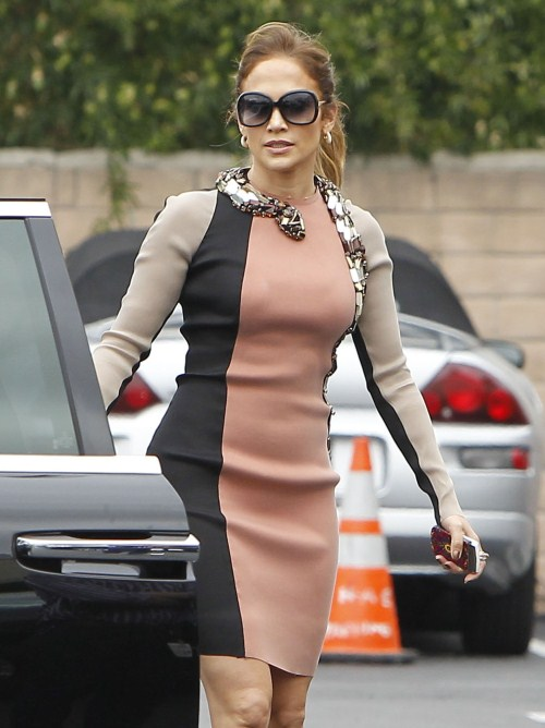 Jennifer Lopez and her boyfriend Casper Smart arriving for a press conference in West Hollywood, California on April 30, 2012