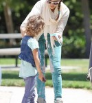 Jessica Alba and Cash Warren at the park with their daughters Honor and Haven May 12