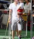 Mark Mcgrath spends the day with his twins Lydon and Hartley at the Farmer's Market in Los Angeles