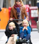 Naomi Watts takes her two boys Alexander and Samuel for a walk in the stroller in NYC, New York on May 3rd, 2012. The boys enjoyed themselves as they made funny faces at each other.