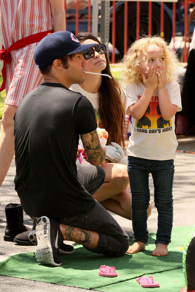 Pete Wentz enjoys a fun Sunday with girlfriend Megan Camper and his son Bronx at the Farmer's Market