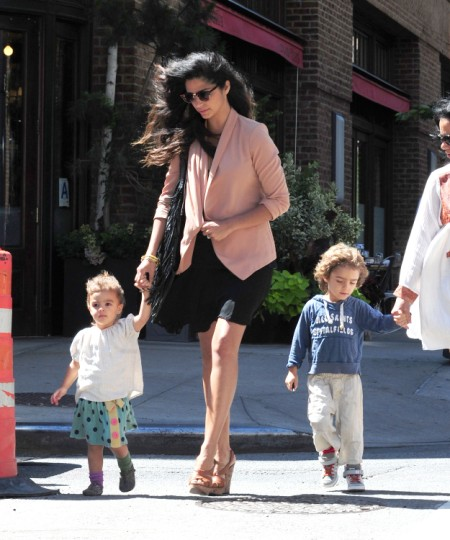 New Bride Camila Alves Takes Levi And Vida For A Walk In NYC