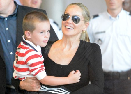 Sharon Stone Lands In Paris With Son Quinn