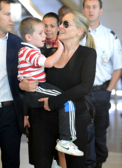 Sharon Stone Lands In Paris With Son Quinn 0629