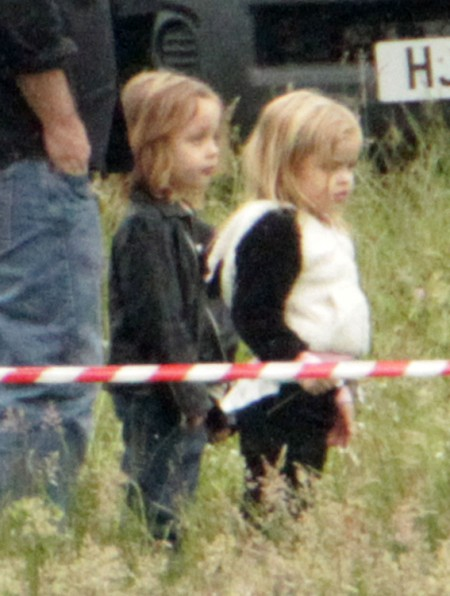 Knox And Vivienne Jolie-Pitt Visit Angelina Jolie On Set Of Maleficent 0628