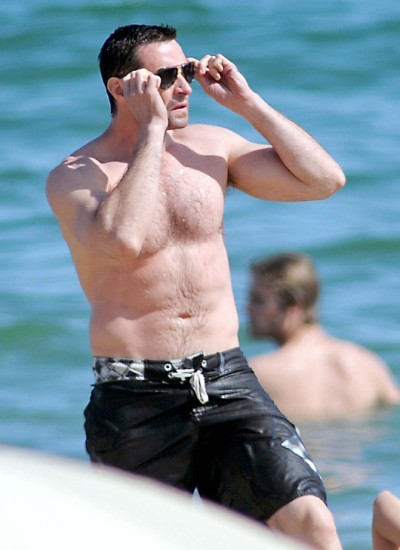 Hugh Jackman Hits The Beach With His Kids