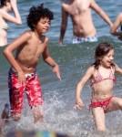 Hugh Jackman Hits The Beach With His Kids 0621