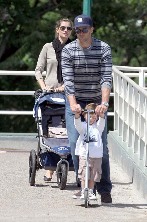 Tom Brady and Gisele Bundchen taking Benjamin to the park in Boston – June 1