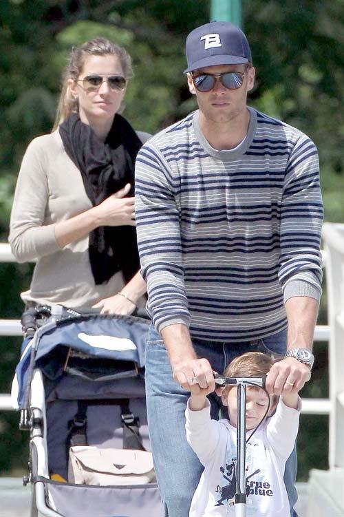 Tom Brady and Gisele Bundchen taking Benjamin to the park in Boston – June 1