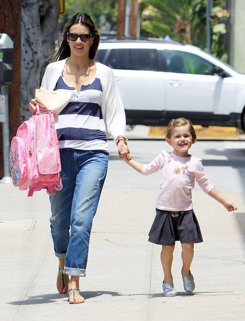 Alessandra Ambrosio picking up Anja at school in Los Angeles, CA - June 20