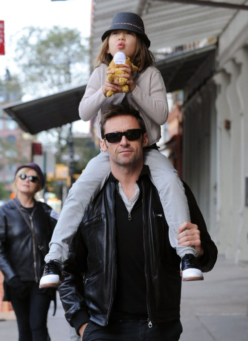 """Real Steel"" actor Hugh Jackman and wife Deborra-Lee Furness made their way out of a Tribeca restaurant with son Oscar and daughter Ava on October 12, 2011 in New York City, New York."