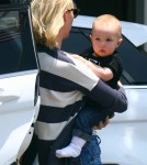'Mad Men' actress January Jones and her son Xander spotted out with a friend in West Hollywood, California on June 9, 2012.