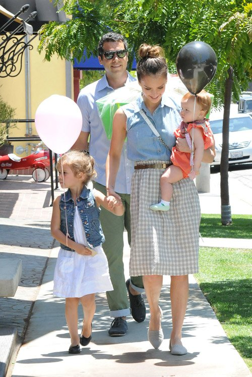 Jessica Alba, Cash Warren, Honor and Haven leaving Bel Bambini - June 23