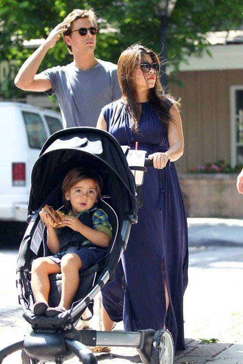 Kourtney Kardashian her husband Scott Disick and son Mason at the Calabasas farmers market – June 16