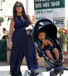 Kourtney Kardashian her husband Scott Disick and son Mason at the Calabasas farmers market - June 16