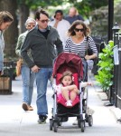 Sarah Jessica Parker and her husband Matthew Broderick take their daughters Tabitha and Marion for a walk through New York City, New York on June 5, 2012.