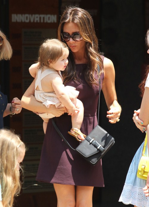 Victoria Beckham takes her kids Brooklyn, Romeo, Harper and other family members out shopping at The Grove in Los Angeles, California on June 2, 2012.