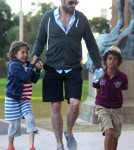 Hugh Jackman Takes Oscar And Ava Jackman To Art Gallery In Sydney 0716