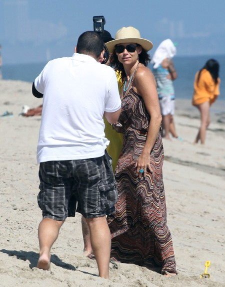 Minnie Driver Celebrates Son Henry Driver's Birthday At The Beach
